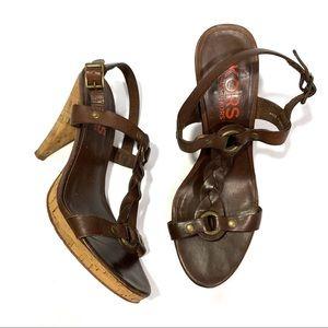 Michael Kors Brown Leather Cork Heeled Sandals